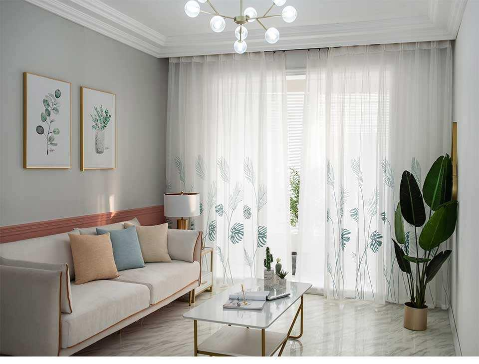 Leaf Embroidered Tulle Curtains for Bedroom festivaloutlets.com